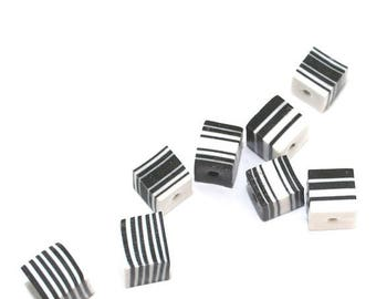 SPRING SALE Black and white square beads, square layered polymer Clay beads, unique beads, stripes elegant beads, set of 8