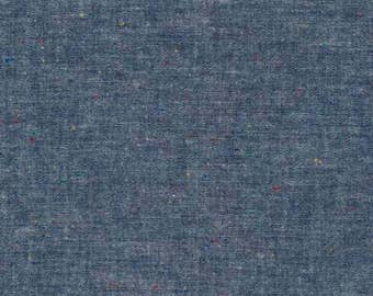 Indigo Chambray 57 Inches Wide Robert Kaufman Rainbow Flecks Dark Blue Fabric Cotton Chambray - Quilt Fabric Apparel Fabric