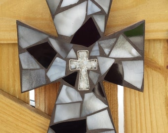 Black and Grey Mosaic Cross, Stained Glass Mosaic Cross, Mosaic Wall Hanging, Mosaic Wall Art