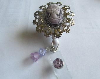Purple Cameo Badge Reel, Decorated ID Holder, Key Holder