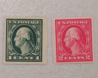 1912 US Postage StampS, Scott # 408 & 409 Imperforate Washington, 1 Cent, MHNG