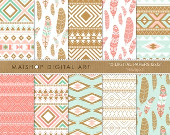 Digital Paper 'Navajo II' Mint, Coral and Bronze Ethnic Tribal Feathers Patterns for Journal Stickers, Cards, Invitations...