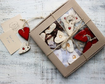 Large gift box set of 16 rustic red white heart ornaments cottage chic baby shower boho Valentines Mother's Day gift Baptism Christmas tree