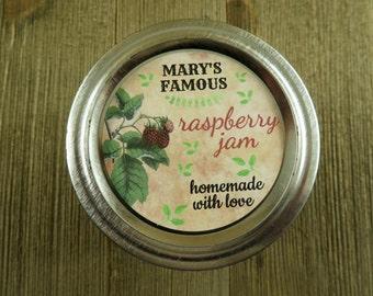 Personalized Canning - Vintage Raspberry Design - 20 4 Oz  Mason Jars Jars or 12 8 Oz Square Mason Jars With Custom Sticker Labels - vfc