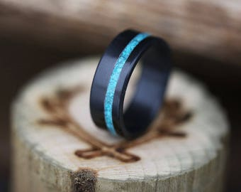 Turquoise and Black Zirconium Wedding Band - Staghead Designs