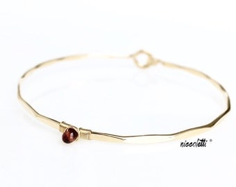 Genuine Garnet Bracelet / 14k Yellow or Rose Gold or Sterling Bangle /January Birthstone Mothers Jewelry / Red Gemstone Bracelet Gift