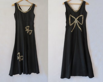 Black Dress With Sequinned Bows -1930s