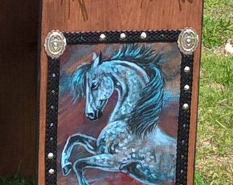 Beautiful Dapple Gray Horse Susan's Saddle Stands custom designed saddle rack FINISHED READY to  SEND and only  10 dollar shipping