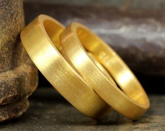Wedding Ring Set Flat Pipe Cut Satin Matte Finish 24K Gold over 925 Sterling Silver Matching His & Hers Thick Wedding Bands - FREE Engraving