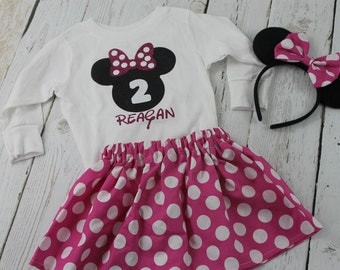 Minnie Mouse 1st Birthday Outfit Hot Pink Polka Dot Long or Short Sleeves Shirt Minnie Mouse 2nd 3rd Minnie Mouse Birthday outfit