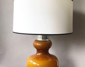 Original vintage Scandinavian style table lamp, glass and aluminum