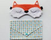 Adjustable fox sleepmask and its matching pouch - Kawaii Night Mask