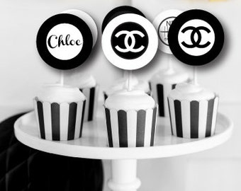 Monogram Black and White Printable Party Circles Cupcake Toppers : Printable party Designs by The Paper Doll