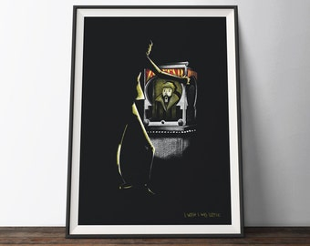 Big Movie Poster - 'I Wish I was Little' Black and Yellow Illustration Film Art Print. 1980's Comedy Movie Gift for Him or Her.