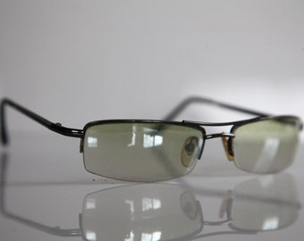 Vintage Chrome Ηαlf Rimless Frame,   Gradient Yellow Lenses.
