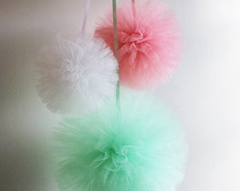 Tulle Pom Pom Set, Hand Sewn and Woven Party Tulle Poms, Nursery Poms, Nursery Mobile, Wedding Decor, Shower Decor