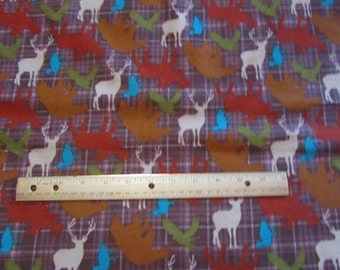Brown Plaid Bear/Moose/Deer/Woodland Flannel Fabric by the Yard