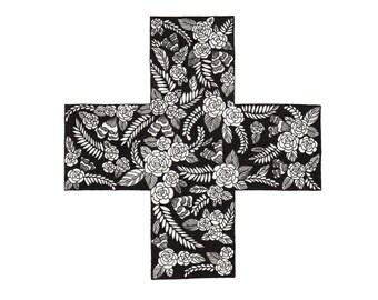 "Swiss Cross Floral Patterned Art Print 8""x10"""