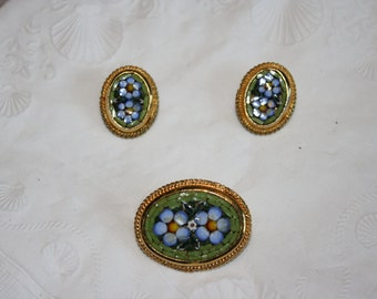 Vintage Blue Micro Mosaic Brooch and Earring Set Marked Italy
