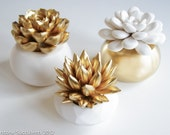 Gold Set of 3 Succulents in Round Planters, Tabletop, Desktop, Modern, Home and Office Decor