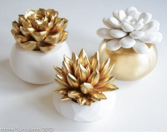 Sale: Gold Set of 3 Succulents in Round Planters, Tabletop, Desktop, Modern, Home and Office Decor