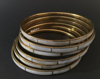 VINTAGE: Set of 6 Mother of Pearl Brass Bangles
