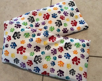 Multi Colored Paw Print Neck Corn Cozie