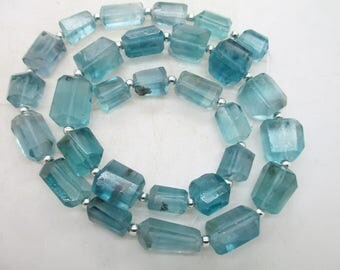 16'' Stunning Chunky open blue nugget shaped polished faceted  flourite beads Afghanistan F76