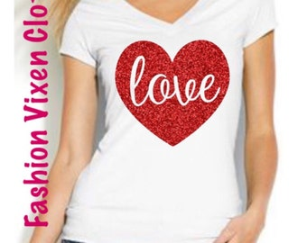 Valentine's Day Red Glitter Love Heart White V-Neck Shirt S M L XL Plus Size 1x 2x 3x 4x 5x