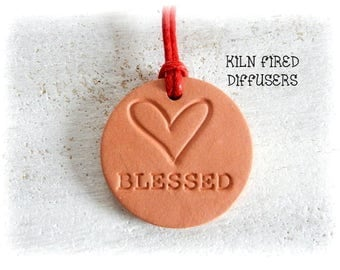 Aroma Diffuser Necklace Aromatherapy Essential Oil Pendant Blessed Inspirational Yoga Pendant Clay Terracotta Ceramic Unglazed