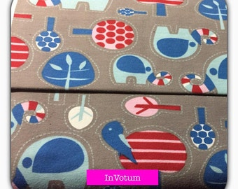 "Cotton Jersey fabric, ""Grey elephant Parade"" blue Berry star, 50 cm"