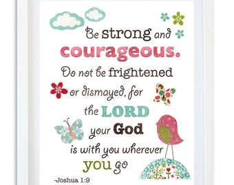 Joshua bible verse art print for girls room nursery and decor
