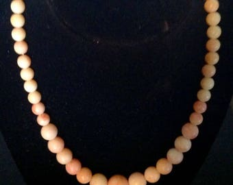 Vintage Angel Skin Coral Necklace. (Faux)