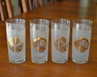 4 Mid Century Modern Culver 22K Gold Seashell 12 oz Drinking Glasses