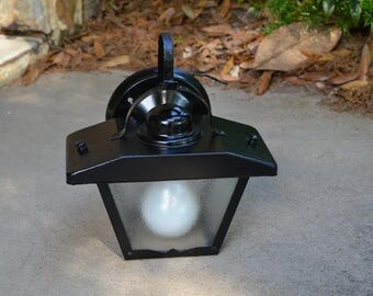 Mid Century Modern Exterior Sconce Fixture Porch Black with Glass Panels