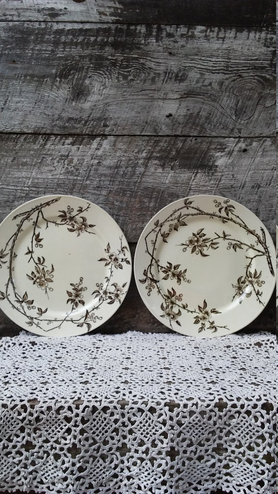 """IRONSTONE DINNER PLATES, Set of 2, P B & S, Tokio Oriental Pattern Plates, Bamboo, 10 1/2"""", England, Large Dinner or Charger, Wall Decor"""