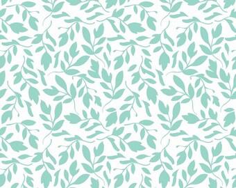 Riley Blake Fabric by the yard - Primrose Leaf C4043 Aqua