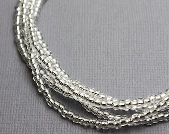 Silver Seed Bead Necklace, Silver Beaded Necklace, Sparkly Long Necklace, Crystal Bead Necklace, Kathy Bankston, Seed Bead Necklace