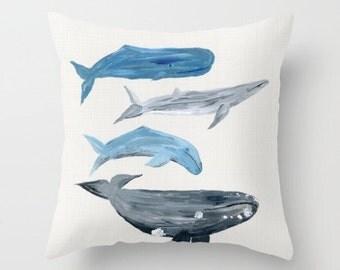 Whale Throw Pillow, ocean pillow, nautical throw, nautical pillow