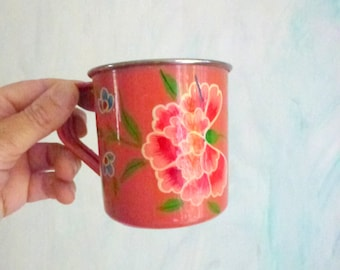 metal drink wear with flower - pink coffee mug- hand painted cup
