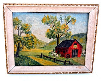 Oil Painting Farm Landscape Painting Country Farmhouse Oil on Board