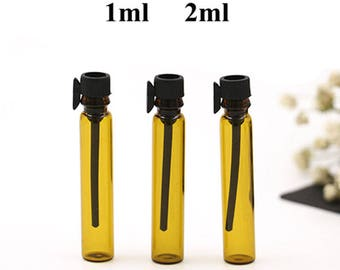 100pcs/lot 1ML 2ML Amber Glass Bottle Perfume Empty Bottles Sample Vials Free Shipping CH-339