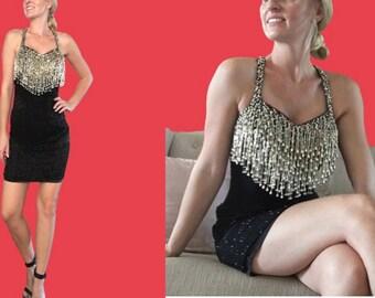 Gold Fringe Dress/ Black and Gold Sequin Dress/ Black Beaded Dress/ LBD/ Gold Beaded Dress/ New Years Eve Dress/Vintage Sequin Dress/Flapper