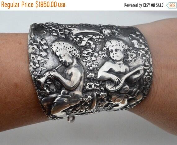 SALE 40% OFF Baroque Antique Art Nouveau Repousse Sterling Silver 925 Gorham Monarch Royalty Crown Cherub Wide Cuff Bracelet Angel .925  Sta