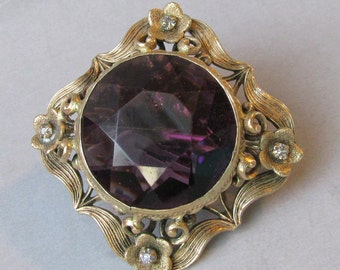 Antique Edwardian Art Nouveau Amethyst Glass Vintage Rhinestone Pin ca 1900