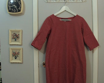 1990s long sleeve red gingham tunic dress