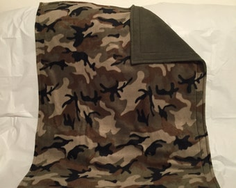 Pet Blanket - Army camouflage print fleece with solid Army green fleece on the reverse side.