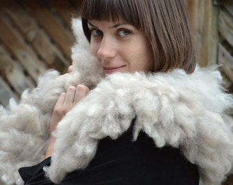 Gorgeus eco-friendly felted fur collar fron natural organic sheep curls - hand made wet felted wool fur trendy scarf - OOAK -ready to ship!