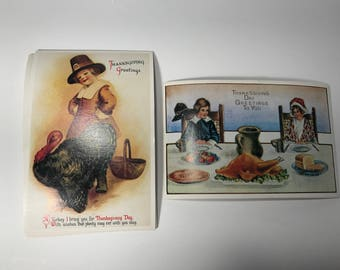 Vintage Lillian Vernon Thanksgiving Postcards Lot of 6 Victorian Reproduction Unused