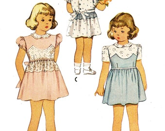 McCall 6079 Girls' Vintage 1940s Dress with Peter Pan Collar and Sleeve Options Sewing Pattern